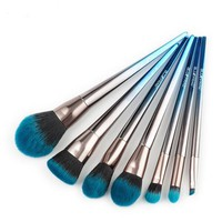 Blue Chrome High Quality Makeup Brushes Set