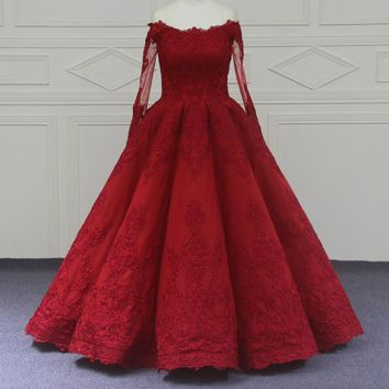 Newest Ball Gown Vintage Wedding Dresses Red Lace Long Sleeve Wedding Dress