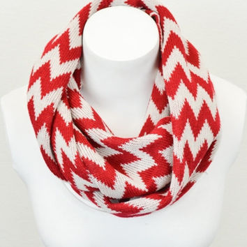 Red and White Knitted Chevron Infinity Scarf Chevron Knit Circle Scarf Women's Fashion Accessories - Holiday Gift Ideas - Autumn Colors