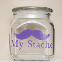 My Stache  MINI  Mustache Money Jar  by TheBeautifulHome on Etsy