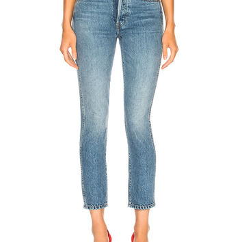 RE/DONE Double Needle Crop Jean in Trucker Wash | FWRD