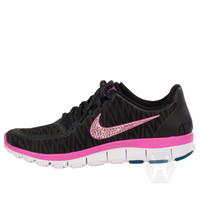 Women's Nike Free 5.0 v4 White Zebra with Lt Rose Swarovski crystal details