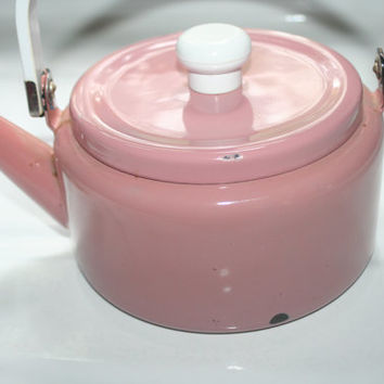 Mauve Enamel Ware Kettle, Rustic Home Decor
