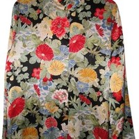 Carole Little Womens Asian Floral Silk 14 L Large Top