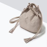 Cut work mini leather bucket bag