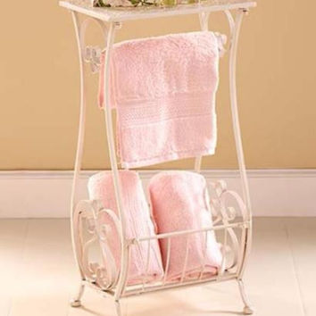 Table Stand Holder Punched Metal Rustic Vintage Storage Towel Toilet Paper Bath
