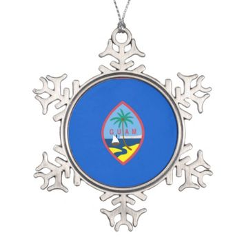 Snowflake Ornament with Guam Flag
