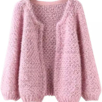 Long Sleeve Mohair Pink Coat