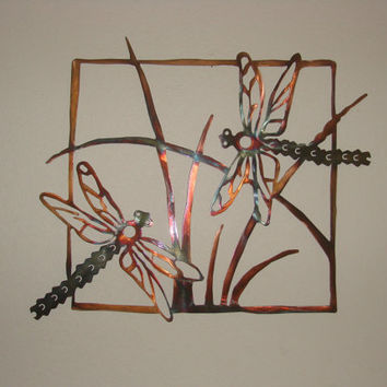 Dragonfly Scene Copper Torch Patina 14 Gauge 24 X 24 Inch Metal Wall Sculputure