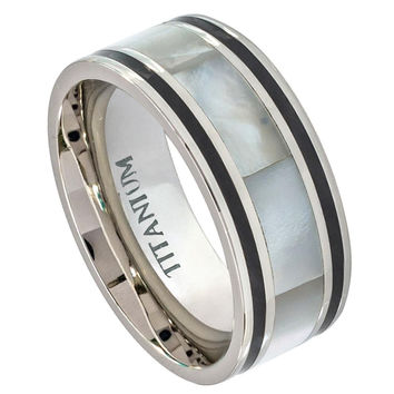Titanium Pipe Cut with Creamy Ivory Hued Mother of Pearl Inlay Ring 9MM