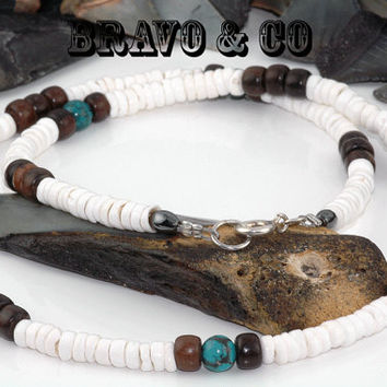 SH-035 Aussie Made Tiger Ebony Wood,Turquoise & Puka Shell Choker Men Necklace