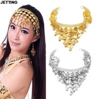 JETTING 1Pcs Hanging bells hairpin headband Headdress belly dancing indian dance Belly Dance accessories gold silver colors