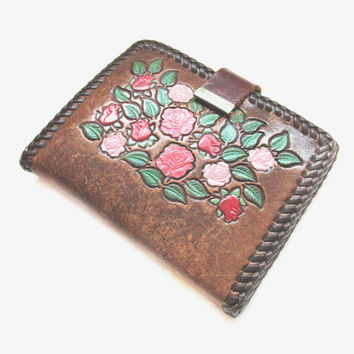 Vintage Tooled Leather Wallet, Brown Painted Flower Clutch