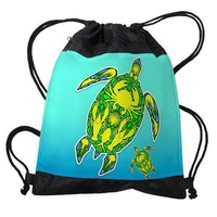 Sea Turtle Coral Reef Marine Life Drawstring Bag on CafePress.com
