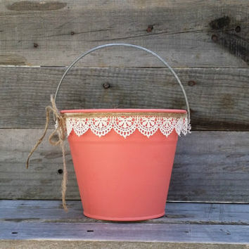 Rustic Flower Girl Basket, Coral Pail with Cream Lace, Rustic Wedding Decor, Flower Girl Bucket, Shabby Chic Wedding Decor