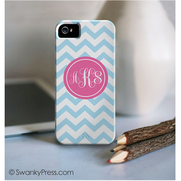 "personalized custom iPhone 5s 5c cell phone case - ""aqua chevron with coral script monogram"""