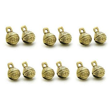 12 Pc Polished Brass Bells, Door Knob, Craft work Anniversary Cattle Party Favor
