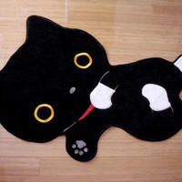 Black Cat with Socks Cotton Room Mat