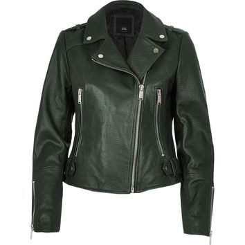 Dark green leather biker jacket - Jackets - Coats & Jackets - women