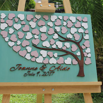 Custom Wedding guestbook alternative 3D Wedding guest book Personalized Rustic Wedding guestbook Wings wedding guest book Hearts Tree  Piece