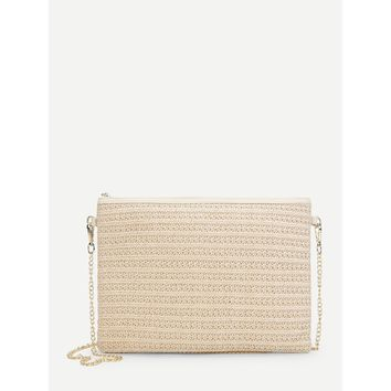 Zip Detail Woven Crossbody Bag