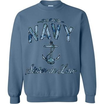 Proud Navy Sister-in-Law Sweatshirt (Camo)
