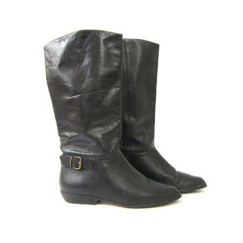 Vintage tall leather boots BLACK Mid Calf boots Slouchy equestrian boots Preppy Leather Riding boots Womens Size 9.5 10