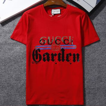 GUCCI Summer new bust letter embroidery print stripe and back embroidery little bird couples short-sleeved T-shirt Red