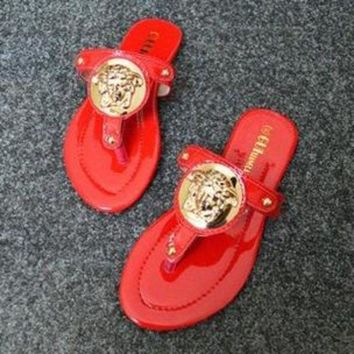 Versace Popular Slippers Women Casual Flat Sandal Slipper Shoes Red