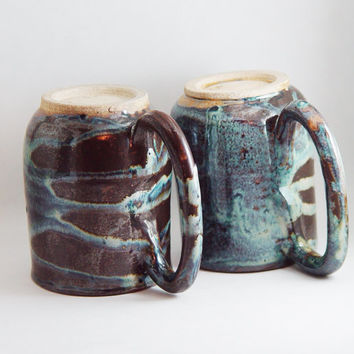 Pair of Unique Coffee Mugs \ Tea Cup, Dark Brown & Turquoise Pint Steins, Large Handle 16 oz pottery, Wheel Thrown Pottery ceramic