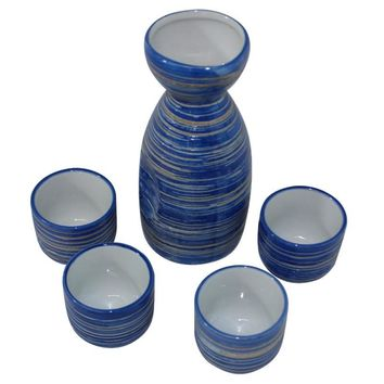 Beautiful Blue Ceramic Glazed Traditional Japanese Sake Gift Set