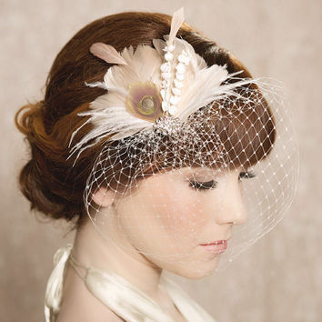 Ivory Blush Bridal Head Piece Feather Fascinator Bridal Hair Flower Stamen Rhinestone Wedding Hair Piece Russian Veiling - the IDA Design