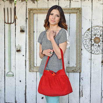 Red purse, corduroy purse, crossbody shoulder bag, spring bag, handbag, pleated purse