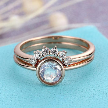Blue Moonstone engagement ring vintage Rose gold wedding ring set rose cut Simple Curved diamond Bridal Jewelry Birthstone Stacking Promise
