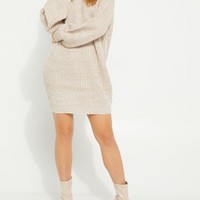 Oatmeal Heather Turtleneck Sweater Dress