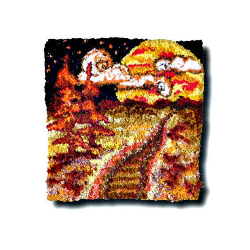 "Hand Hooked Tapestry Wall Hanging, Rug Hooking, Hooked Rug, Home Decor, Modern Wall Art, ""Golden Moonlit Journey"""