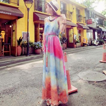 VONE2B5 2016 New Style Gradient Colorful Summer Dress Sleeveless A Line Floor Length Long Chiffon Dress Beach Style Dresses
