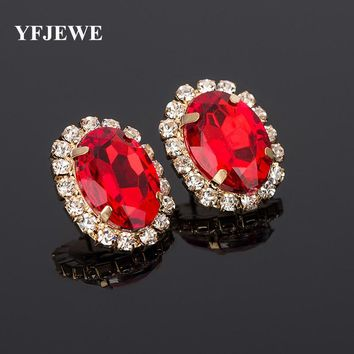 YFJEWE Multicolour Crystal Gem Austrian Oval Shape Ladies Sexy Super Large Stud Earring Valentine's Day Earrings For Women E010