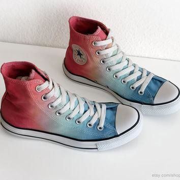 light blue to coral red ombre dip dye converse sneakers upcycled vintage all stars h