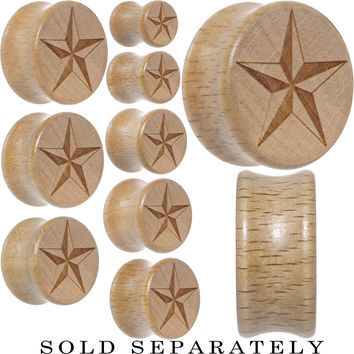 Nautical Star Saddle Plug in Organic Beech Wood