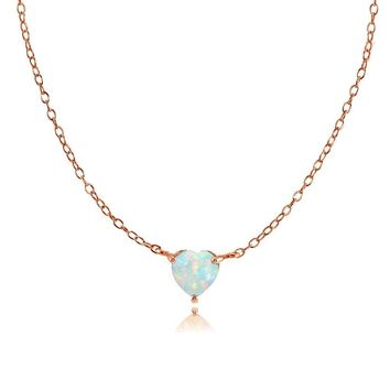 Dainty Simulated Opal Small Heart Choker Necklace in Rose Gold Plated 925 Silver