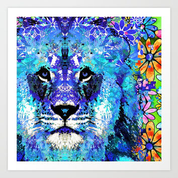 Lion Art - Beauty And The Beast - Sharon Cummings Art Print by Sharon Cummings