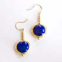 Royal Blue and Gold Earrings Spring Fashion by AtelierYumi