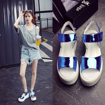 Summer Sandals Peep Toe Height Increase Thick Crust Metal Rivet Roman Shoes Mirror [6050458113]