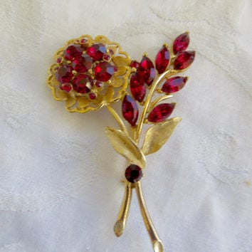 Weiss Floral Brooch, Vintage Rhinestone Flower Pin, Weiss Jewelry