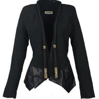 Fundu Women's Black Line Tassels Slim Cool PU Leather Peplum Jacket