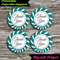 """Thank you - Cupcake toppers - Teal - Instant Download - Party printable - Party favor - Candy Bar - 5 cm / 2"""""""