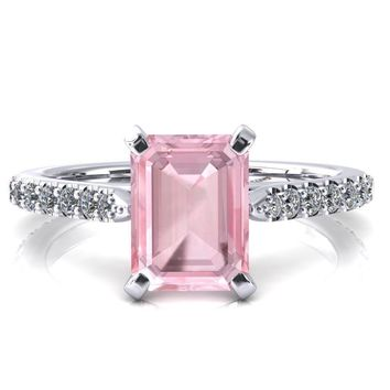 Kelsy Emerald Pink Sapphire 4 Prong 3/4 Shared Scalloped Inverted Cathedral Ring