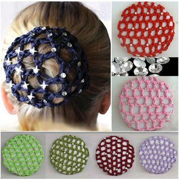 ICIKWJ7 Women New Hot Beautiful Bun Cover Snood Hair Net Ballet Dance Skating Crochet Fanchon Rhinestone