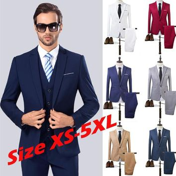Plus size XS-5XL 2017 business and leisure suit a two-piece suit the groom's best man wedding 8 colors